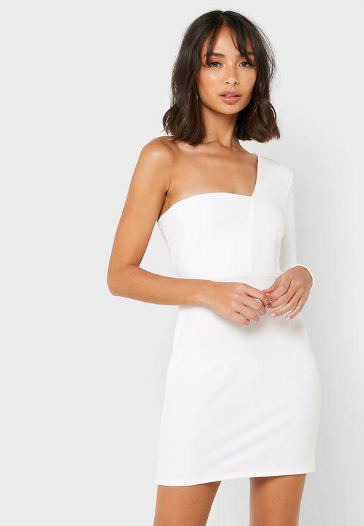 One Shoulder Bodycon Mini Dress