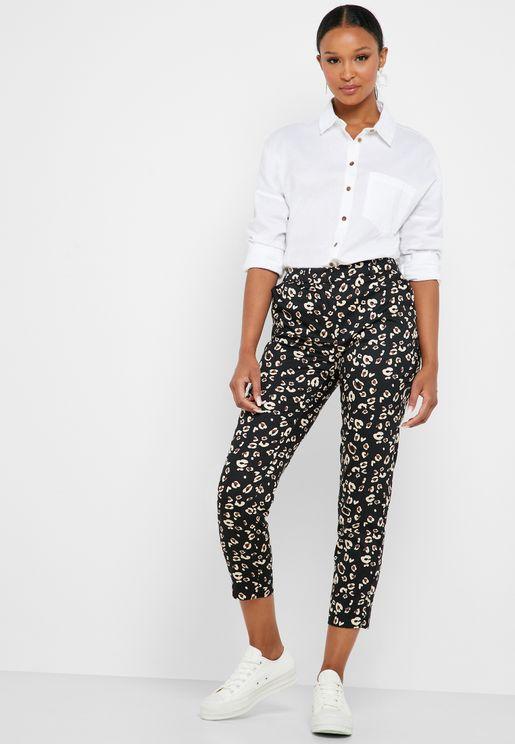 Leopard Print Ankle Grazer Pants