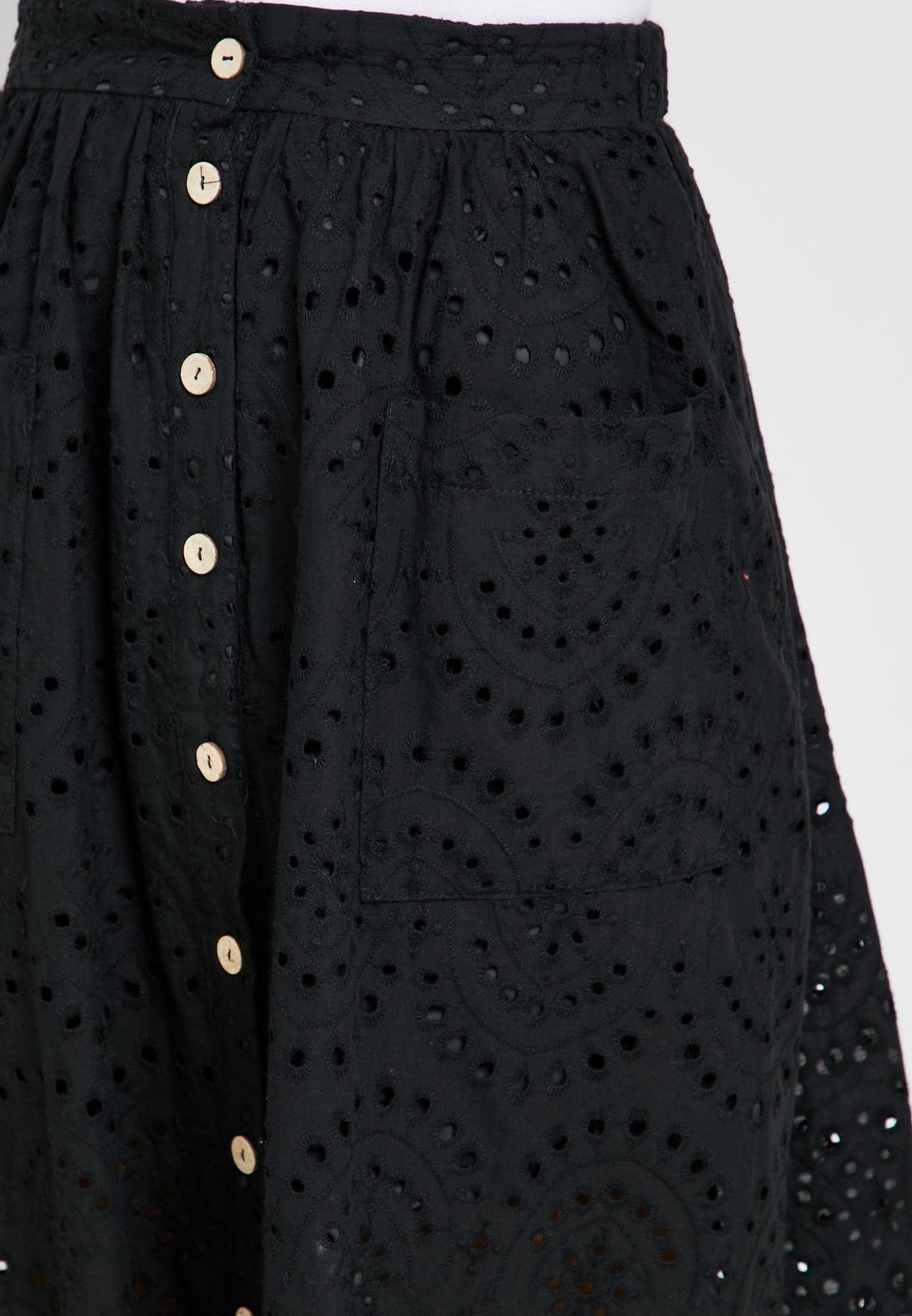 Broiderie Button Through Skirt