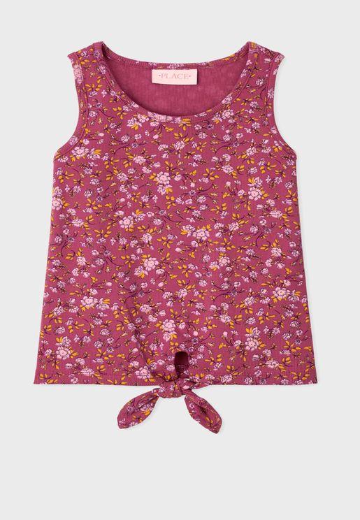 Kids Floral Print Tie Front Top