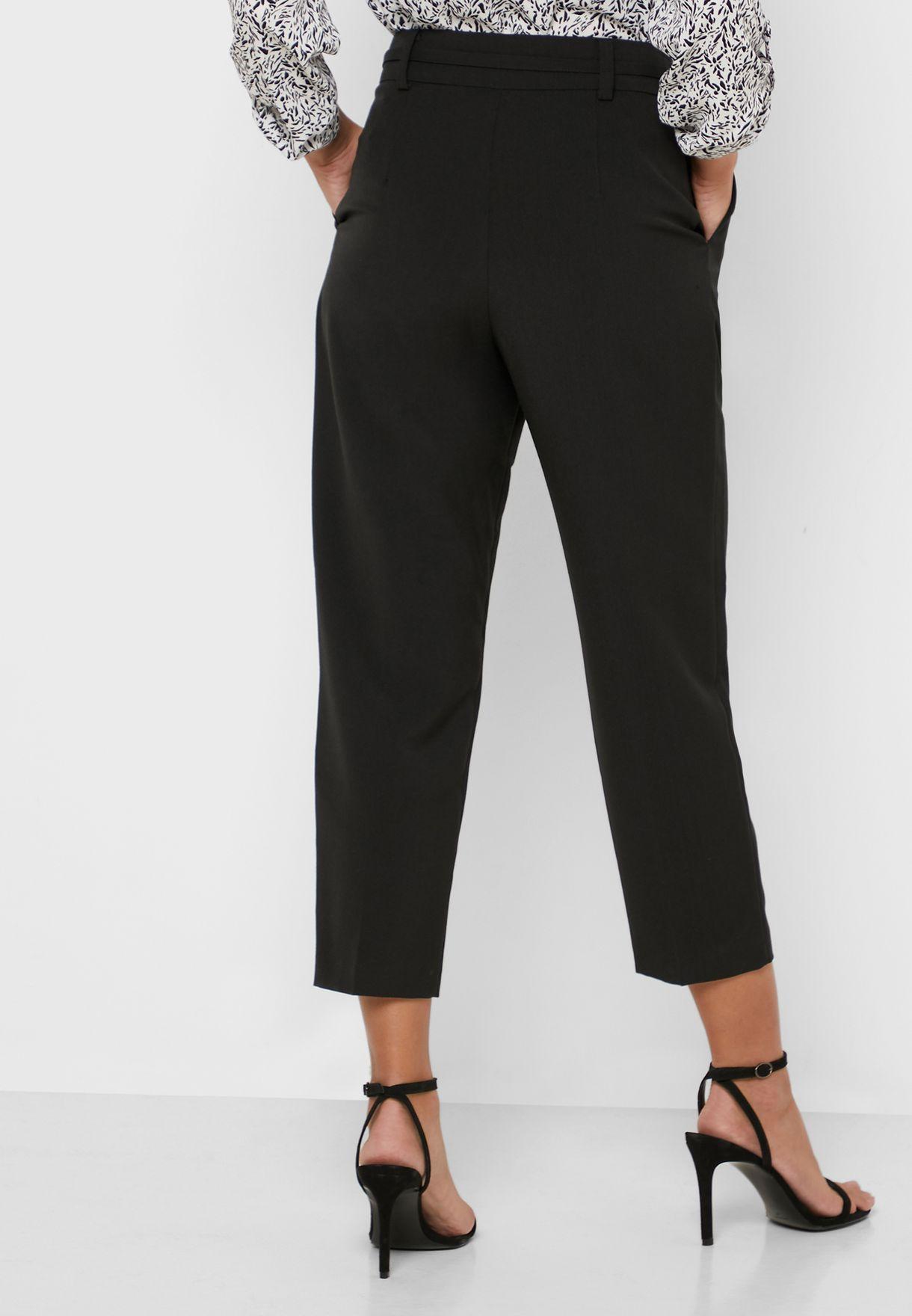 Belted Paperbag Waist Pants