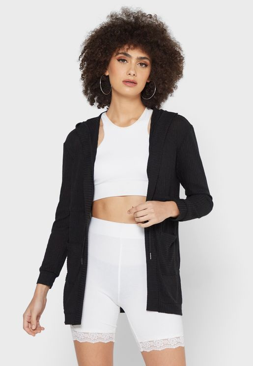 Open Cardigan With Front Pockets