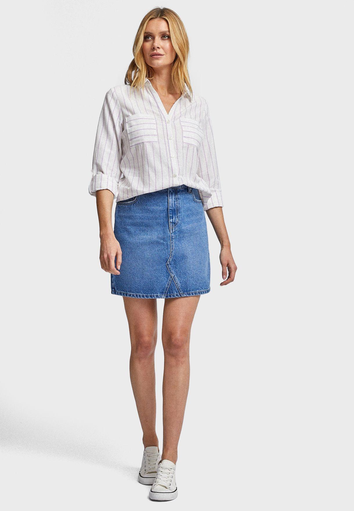Striped Roll Sleeve Shirt