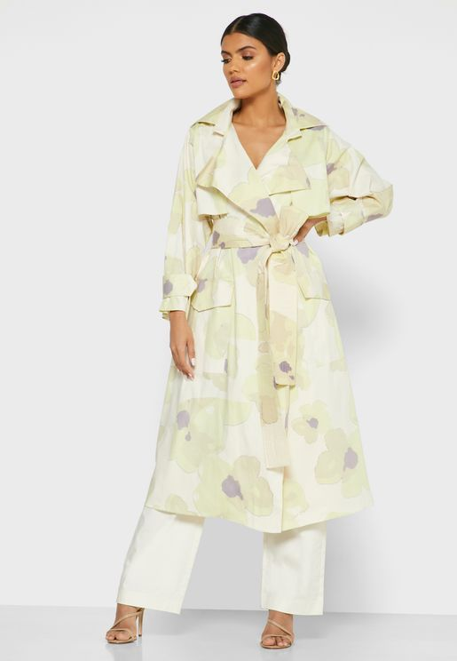 Belted Print Coat with Straight-Leg Pants Set