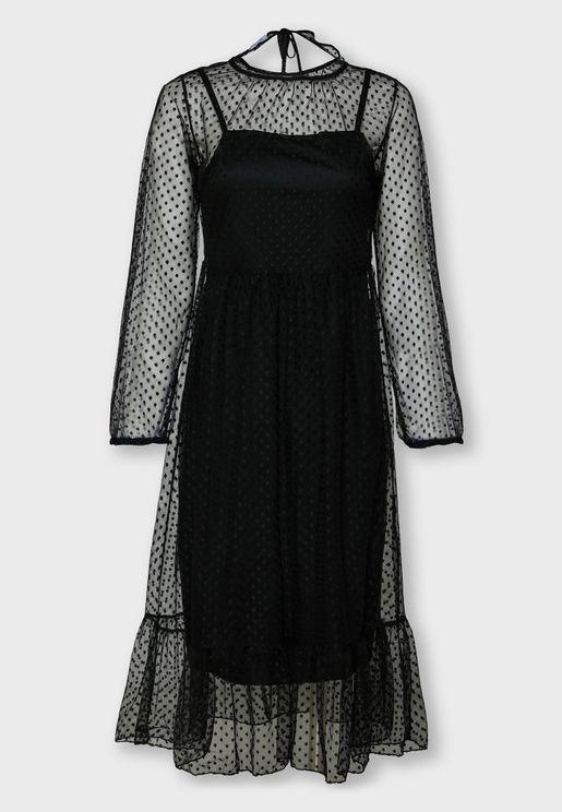 فستان ميدي شبك باكمام طويلة