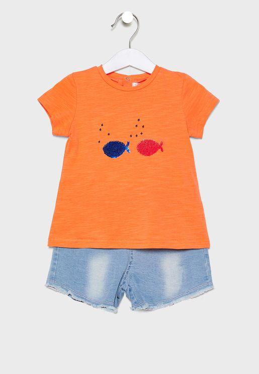 Little Printed T-Shirt + Short Set