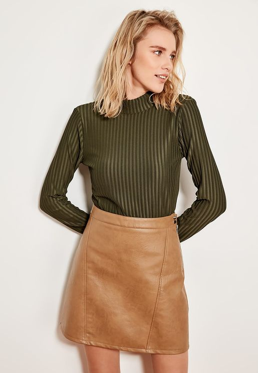 High Neck Ribbed Long Sleeve Top