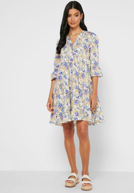 فستان ميني بطباعة زهور