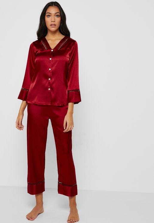 Crochet Insert Shirt Pyjama Set