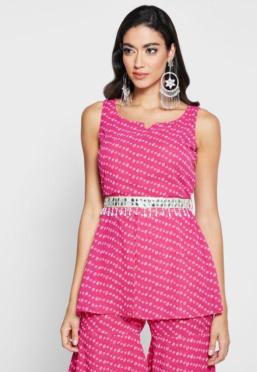 Pink Bandhani Front Slit Short Tunic with Attached Fringe Belt