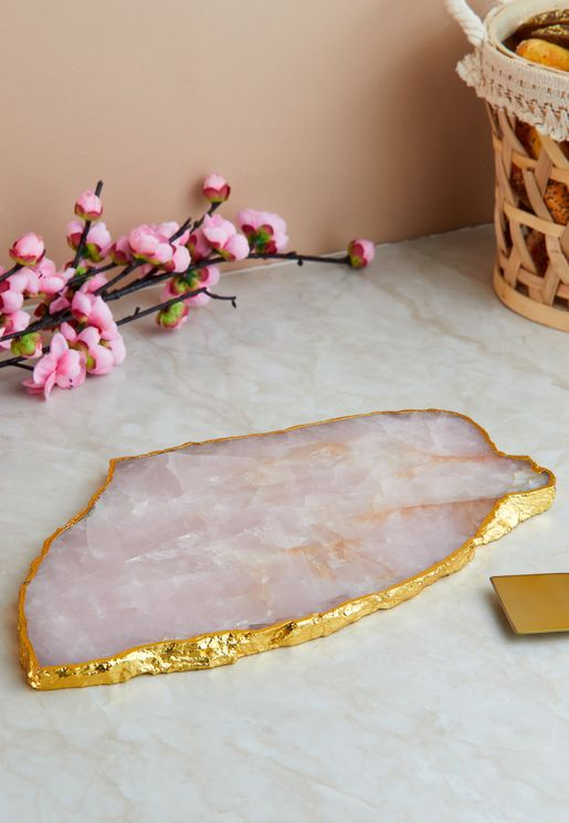 Rose Quartz Serving Platter With Gold Detailing