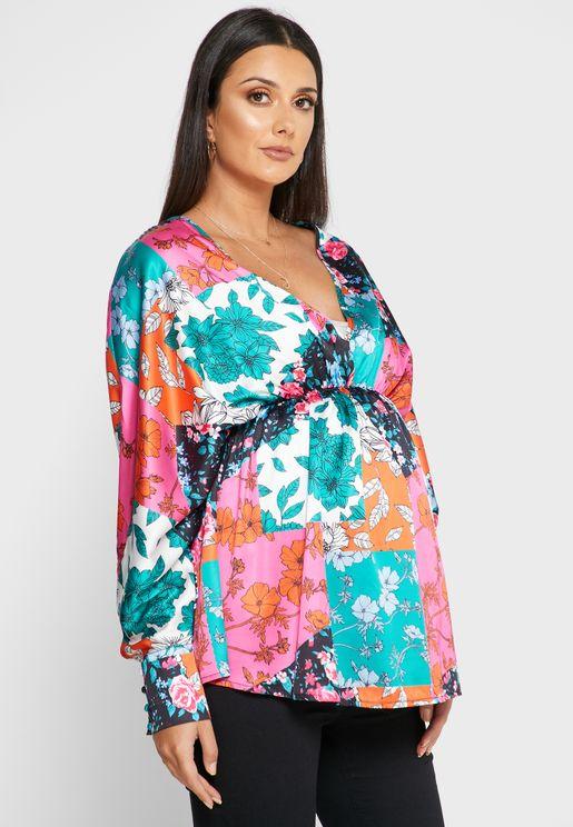 Kimono Sleeve Printed Top