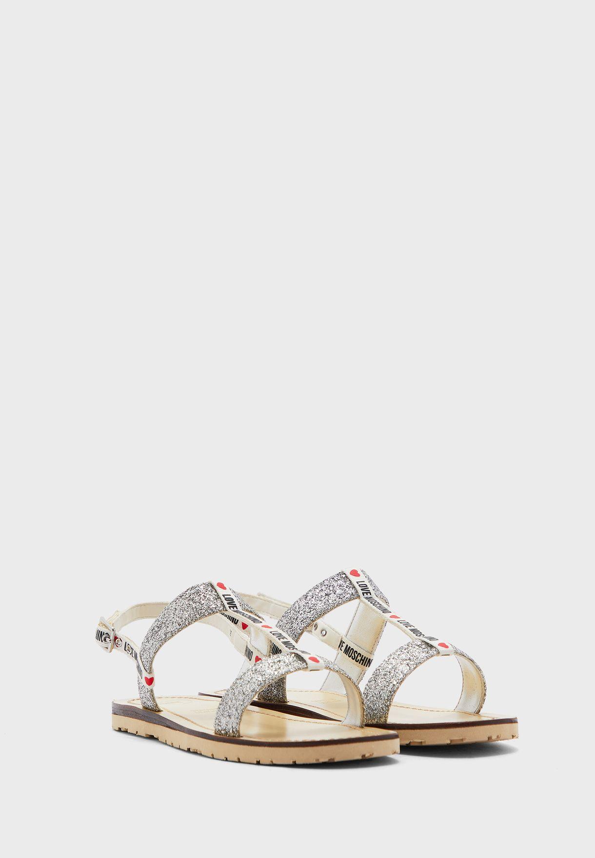 Ankle Strap Flat Sandal - Argento