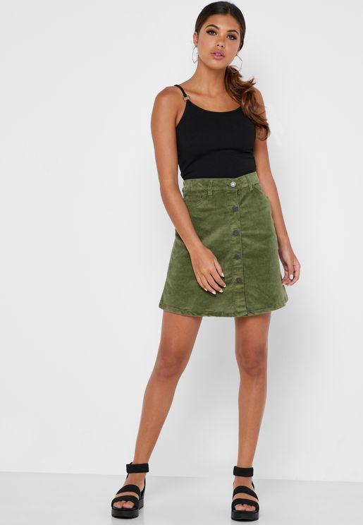 Button Down Corduroy Mini Skirt