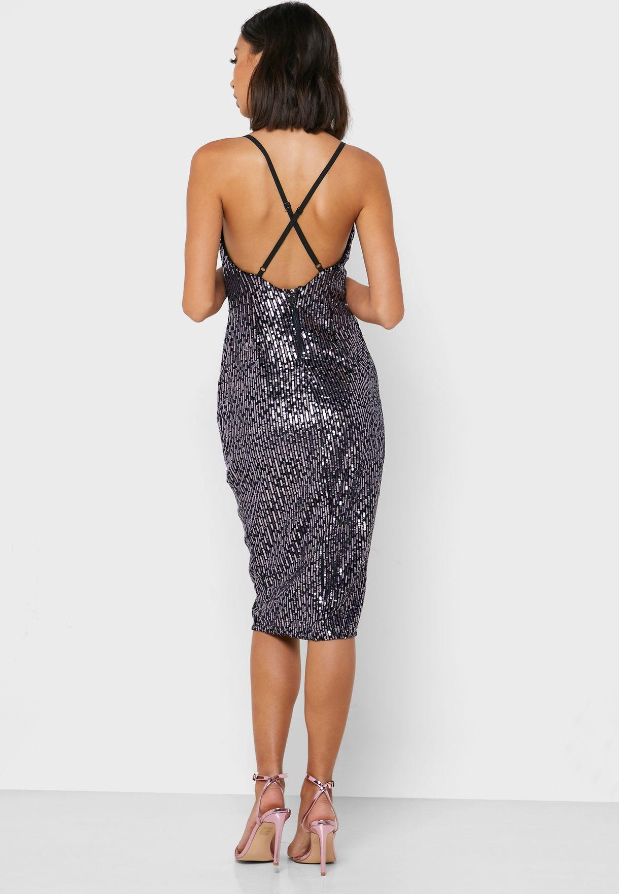 Shimmer Plunge Bodycon Dress