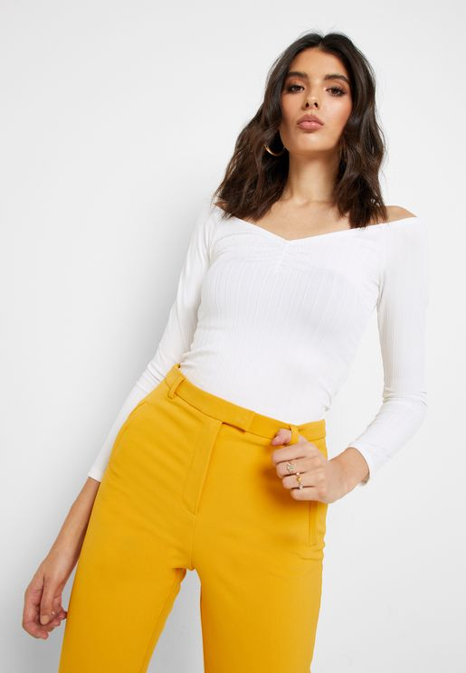 Ruched Detail Ribbed Top