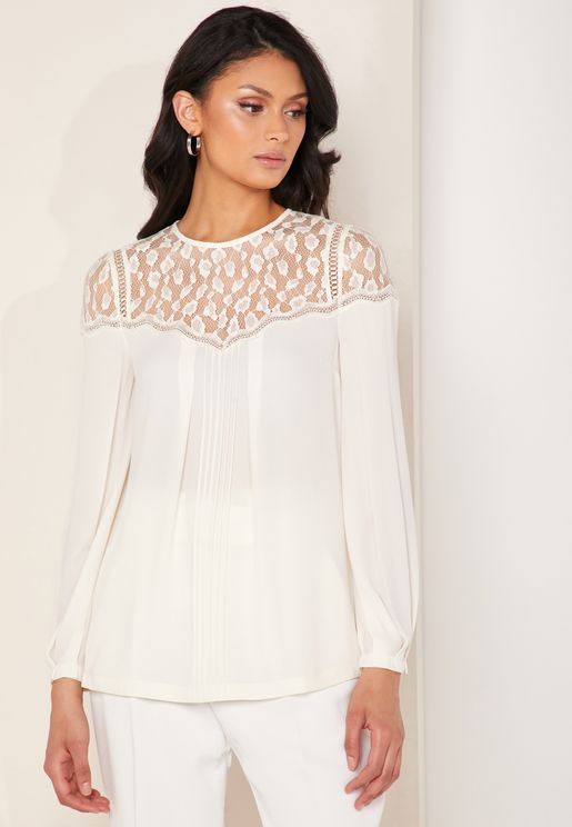 Pleated Lace Detail Top