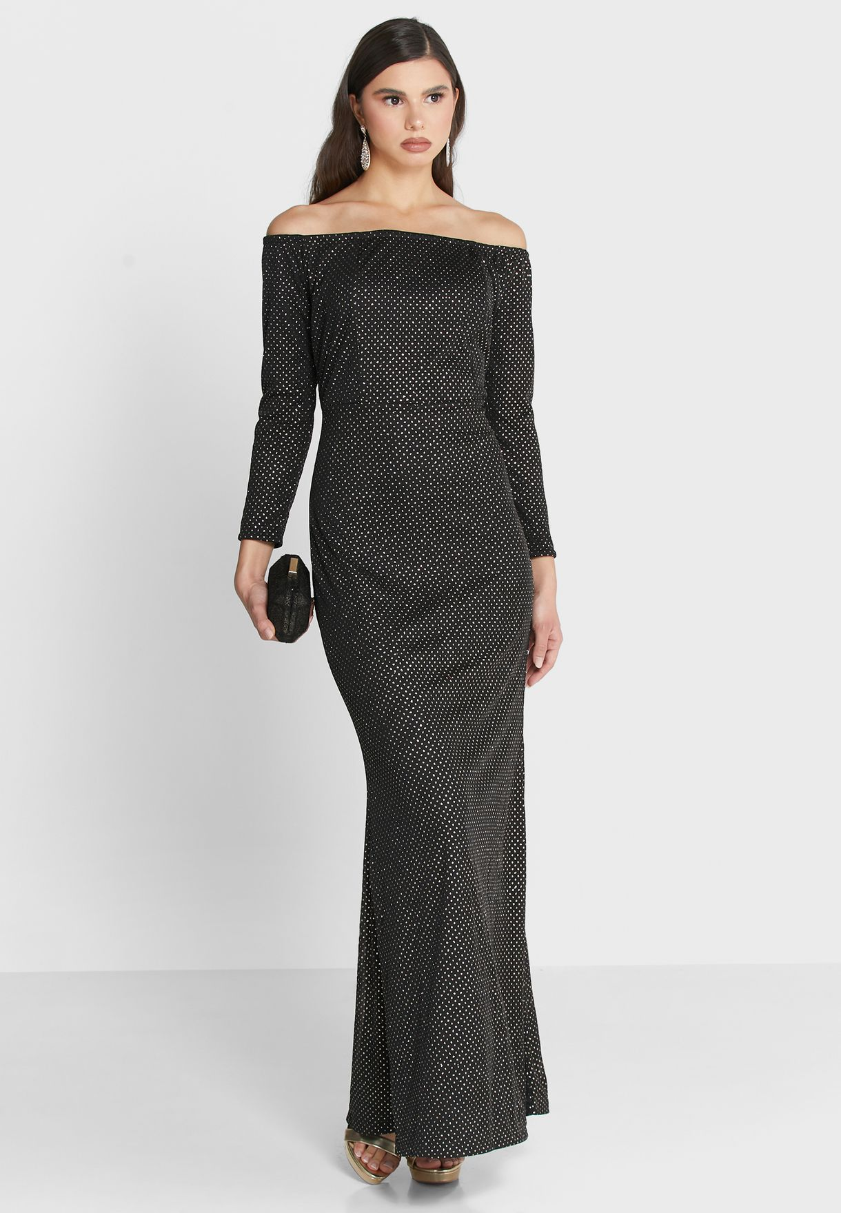 Embellished Bardot Maxi Dress