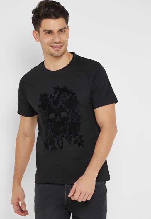 Skull Flock Crew Neck T-Shirt