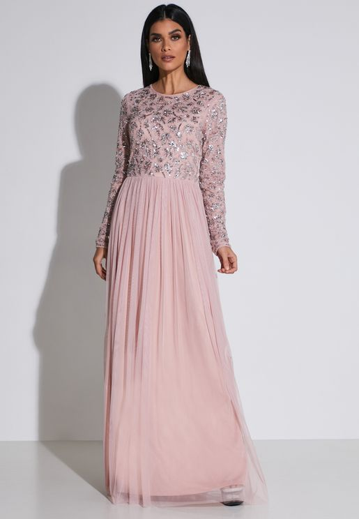 Sequin Detail Plisse Mesh Dress