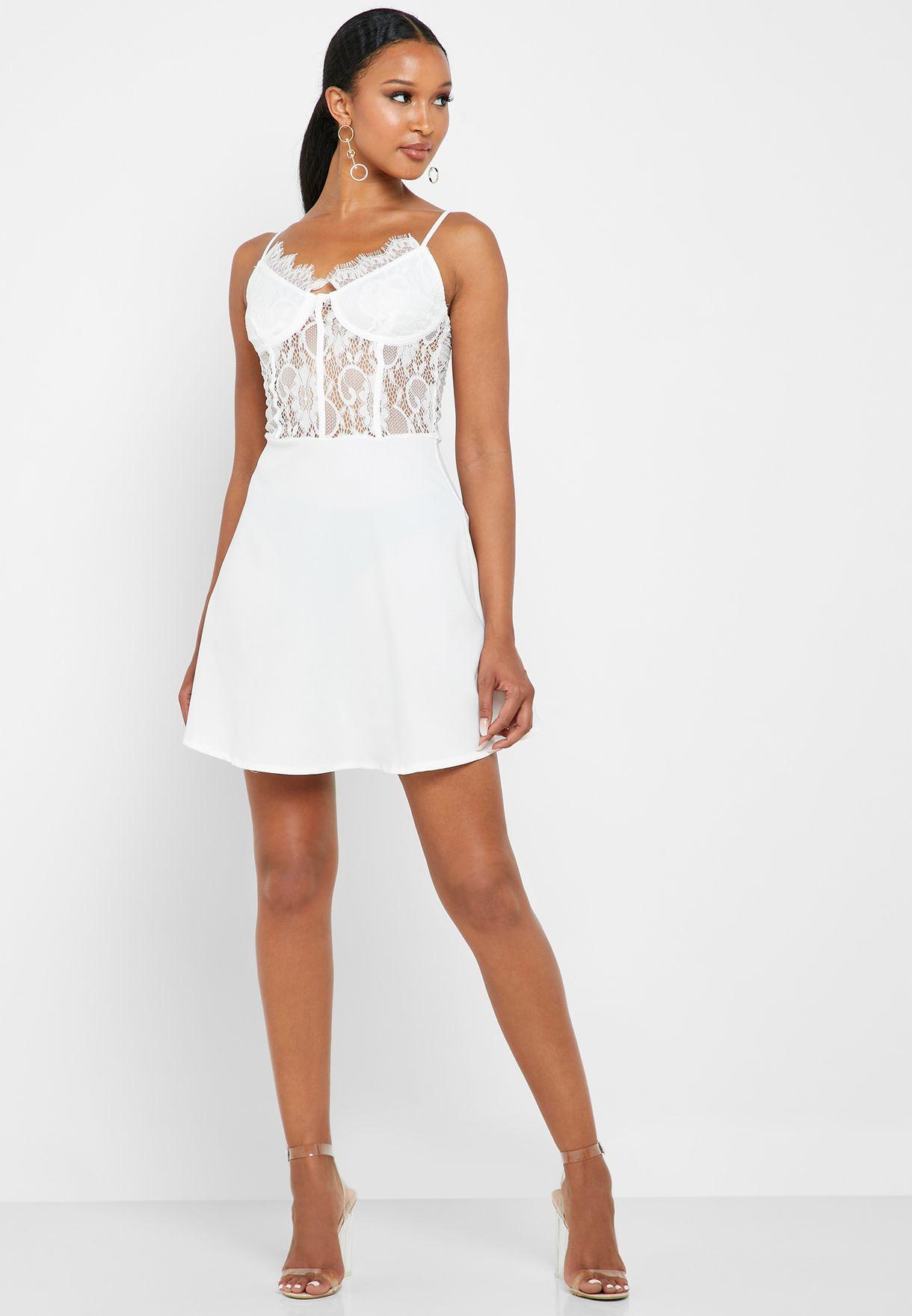 Lace Detail Skater Dress