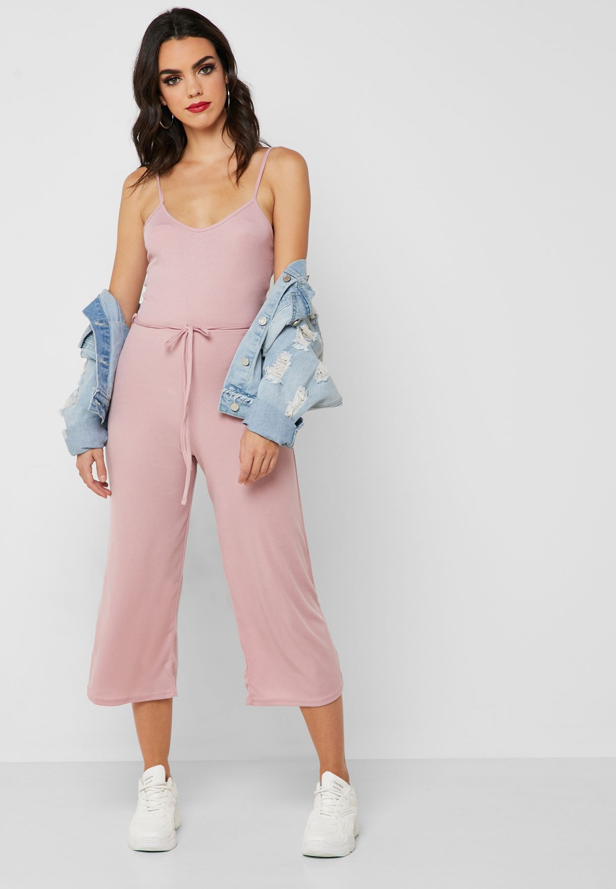 941bee154263 Shop Missguided pink Tie Waist Culottes Jumpsuit M9903961 for Women ...