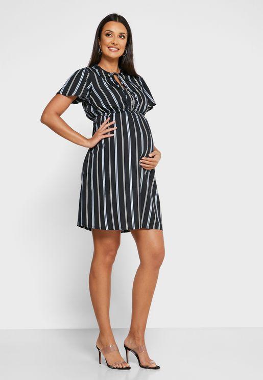 Tie Neck Striped Dress