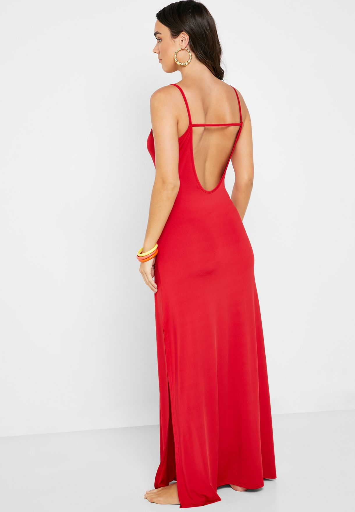 Open Back Side Split Beach Dress