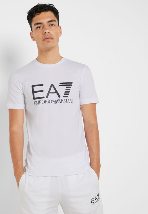c4db5ee034950 Multicolor Logo Crew Neck T-Shirt. PREMIUM. EA7 Emporio Armani. Multicolor  Logo Crew ...