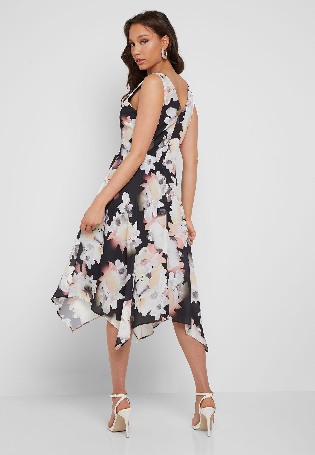 Floral Print Asymmetric Dress