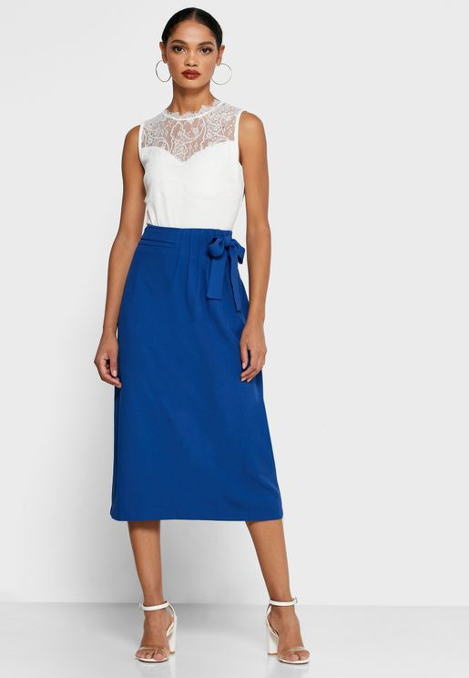 Pleated Waist Self Tie Skirt