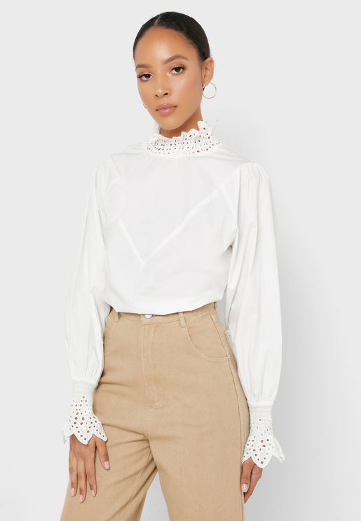 High Neck Lace Detail Top