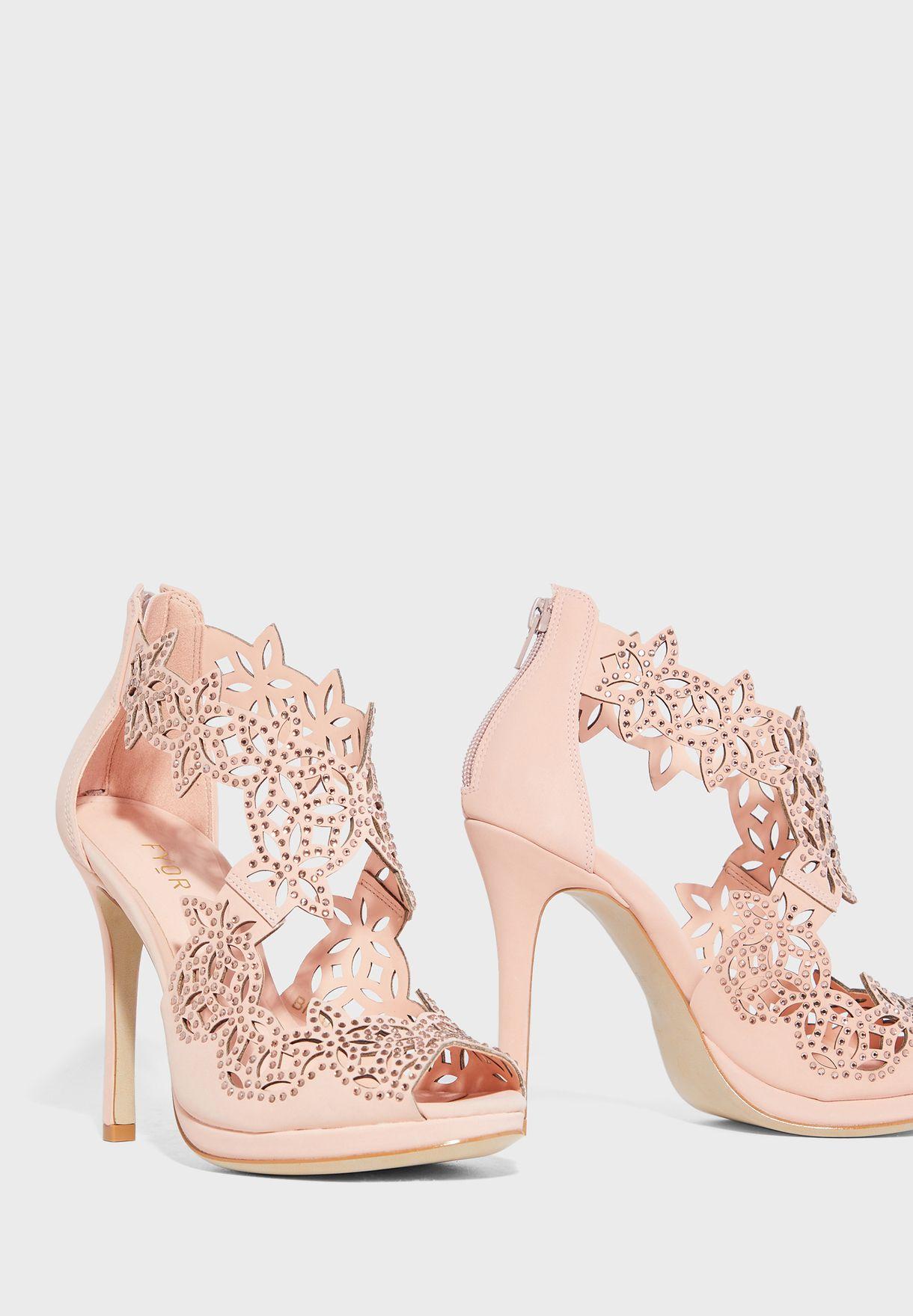 peach pink heels