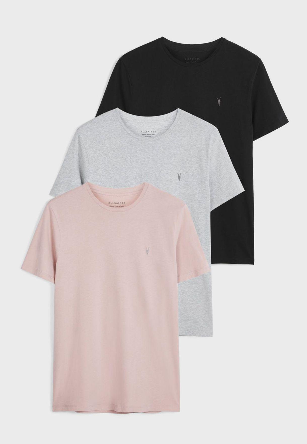 3 Pack Brace Tonic Crew Neck T-Shirt
