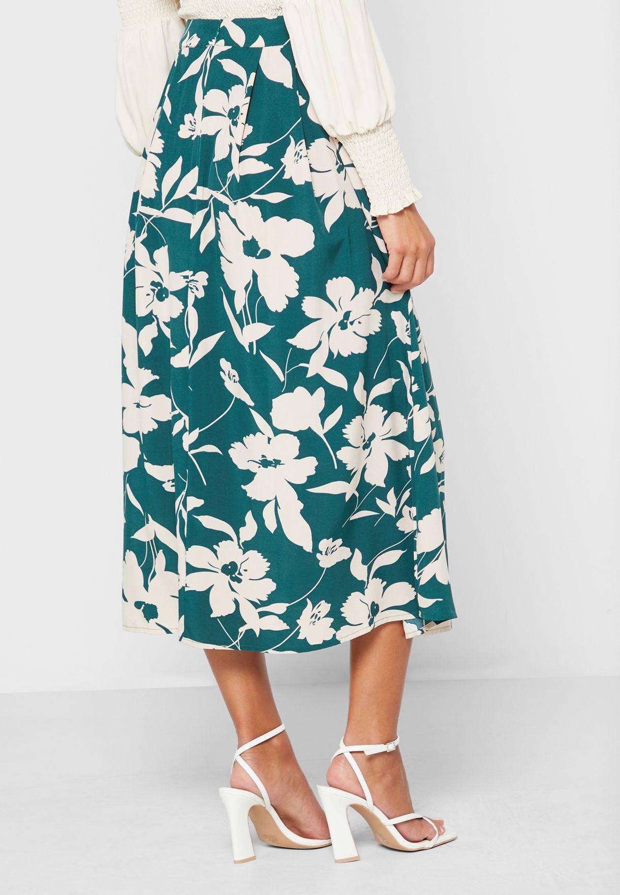 Floral Print Slit Skirt