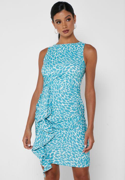 Ruffle Trim Printed Dress
