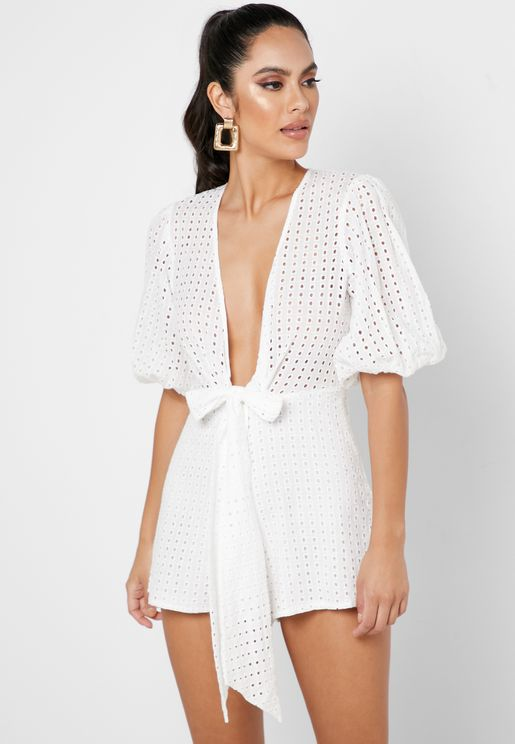 Front Knot Puff Sleeve Broderie Playsuit