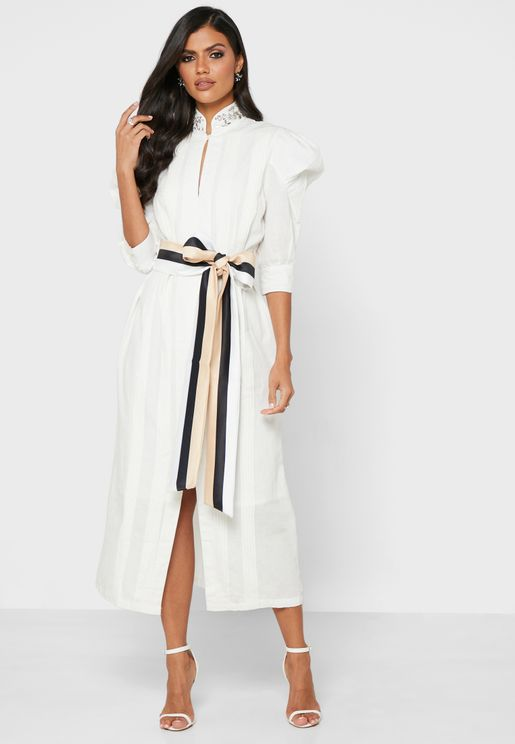 Embellished Collar Belted Dress