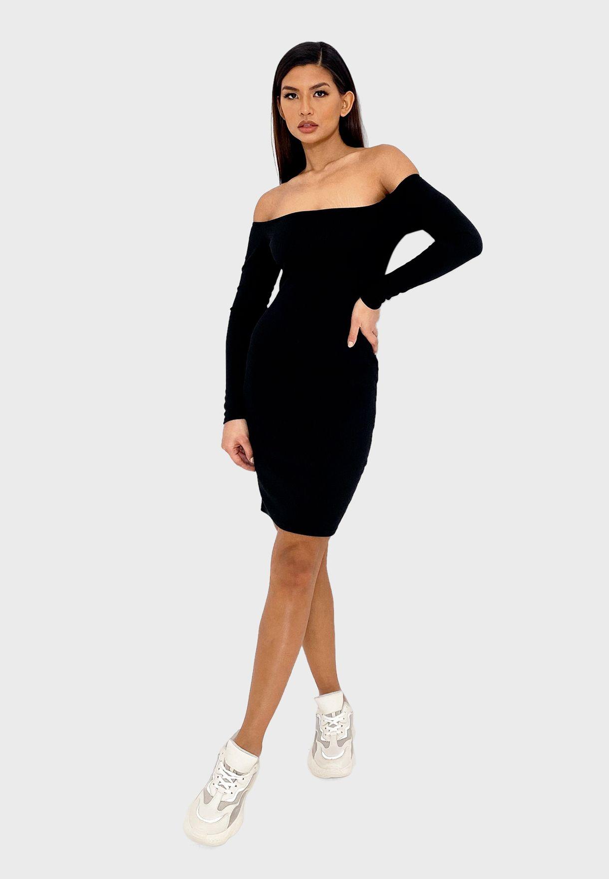 Ribbed Bardot Mini Dress