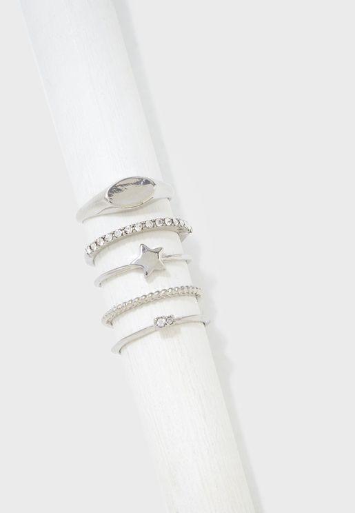 5 Pack Star Ring