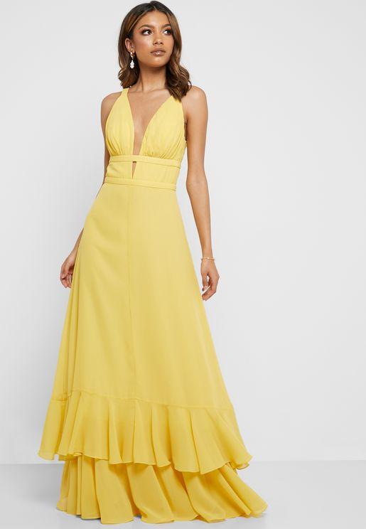 Ruffle Trim Layered Dress