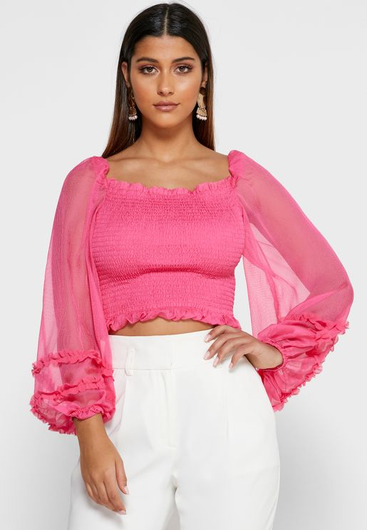 Moonlight Sheer Sleeve Shirred Top