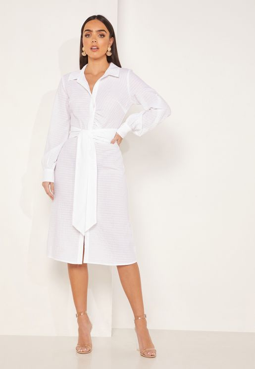 Payton Tie Waist Shirt Dress