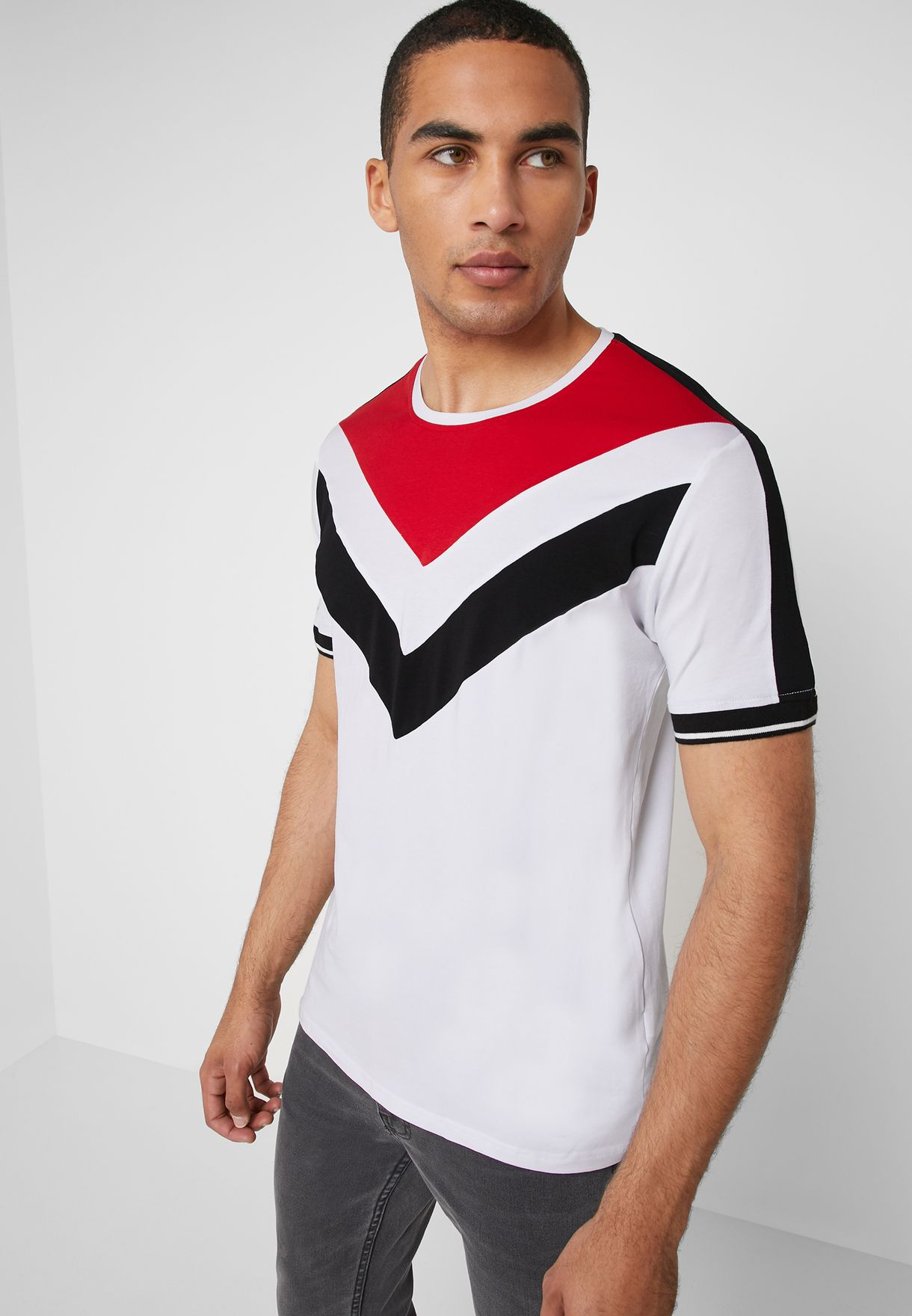 Chevron Stripe Crew Neck T-Shirt