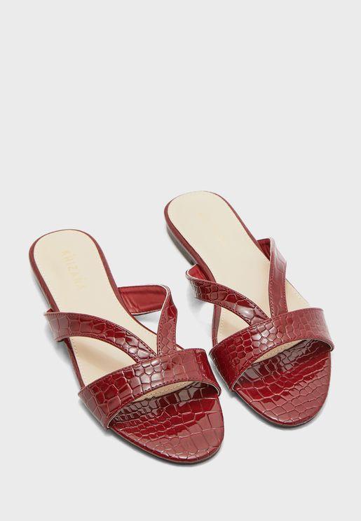 Croc Strap Flat Sandals