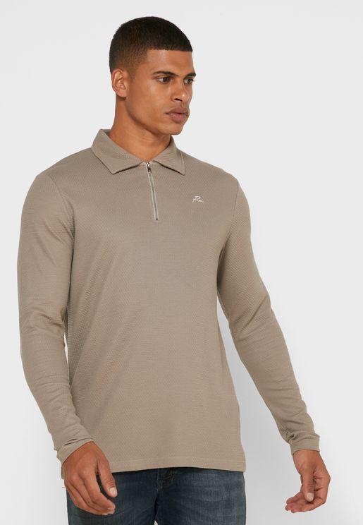 Franco Regular Fit Half Zip Polo