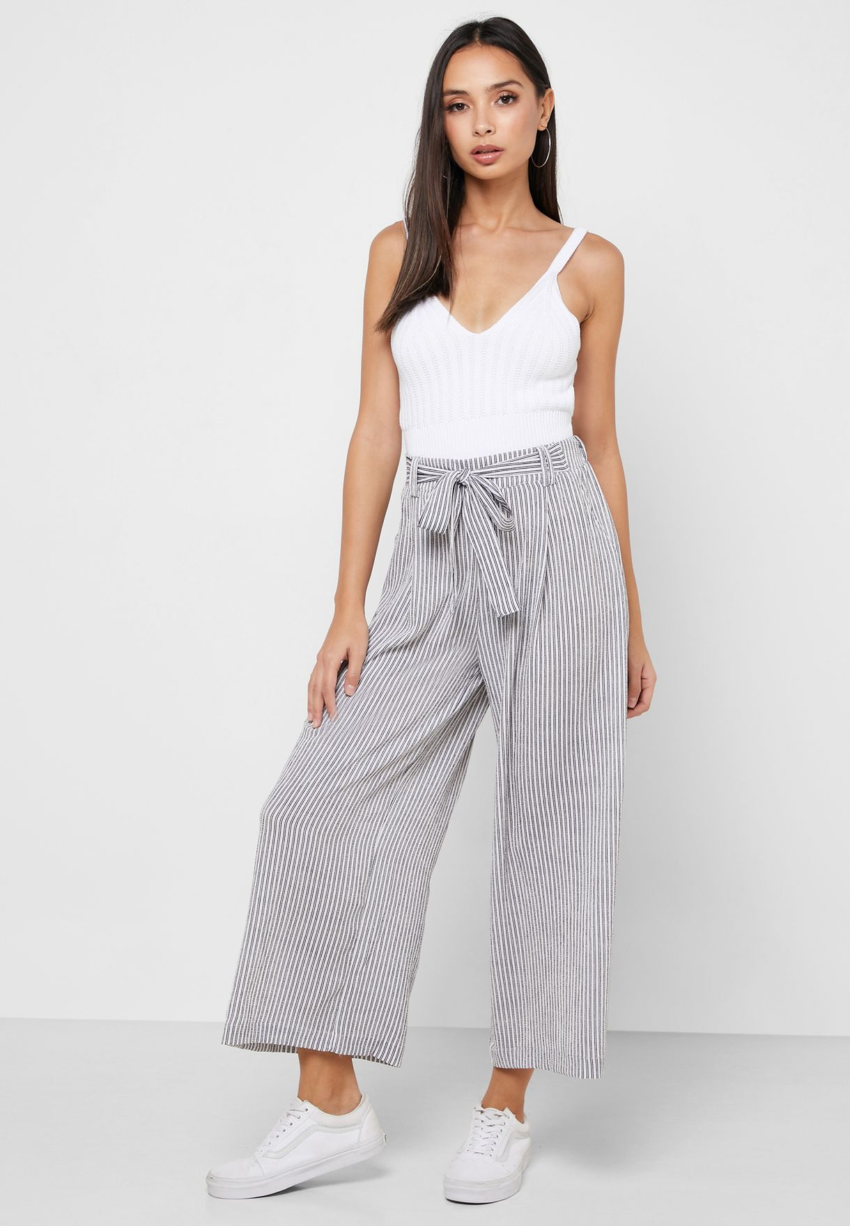 Striped Tie Front Detail Pants