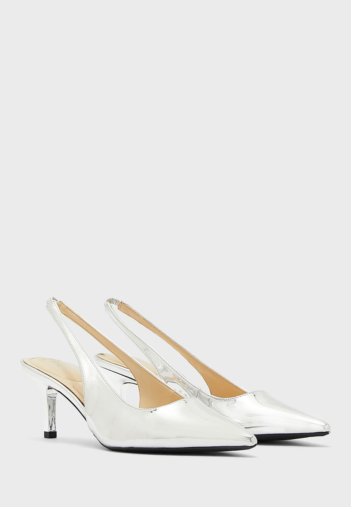 Kately9X93 Pointed Sling Back Mid-Heel Sandals