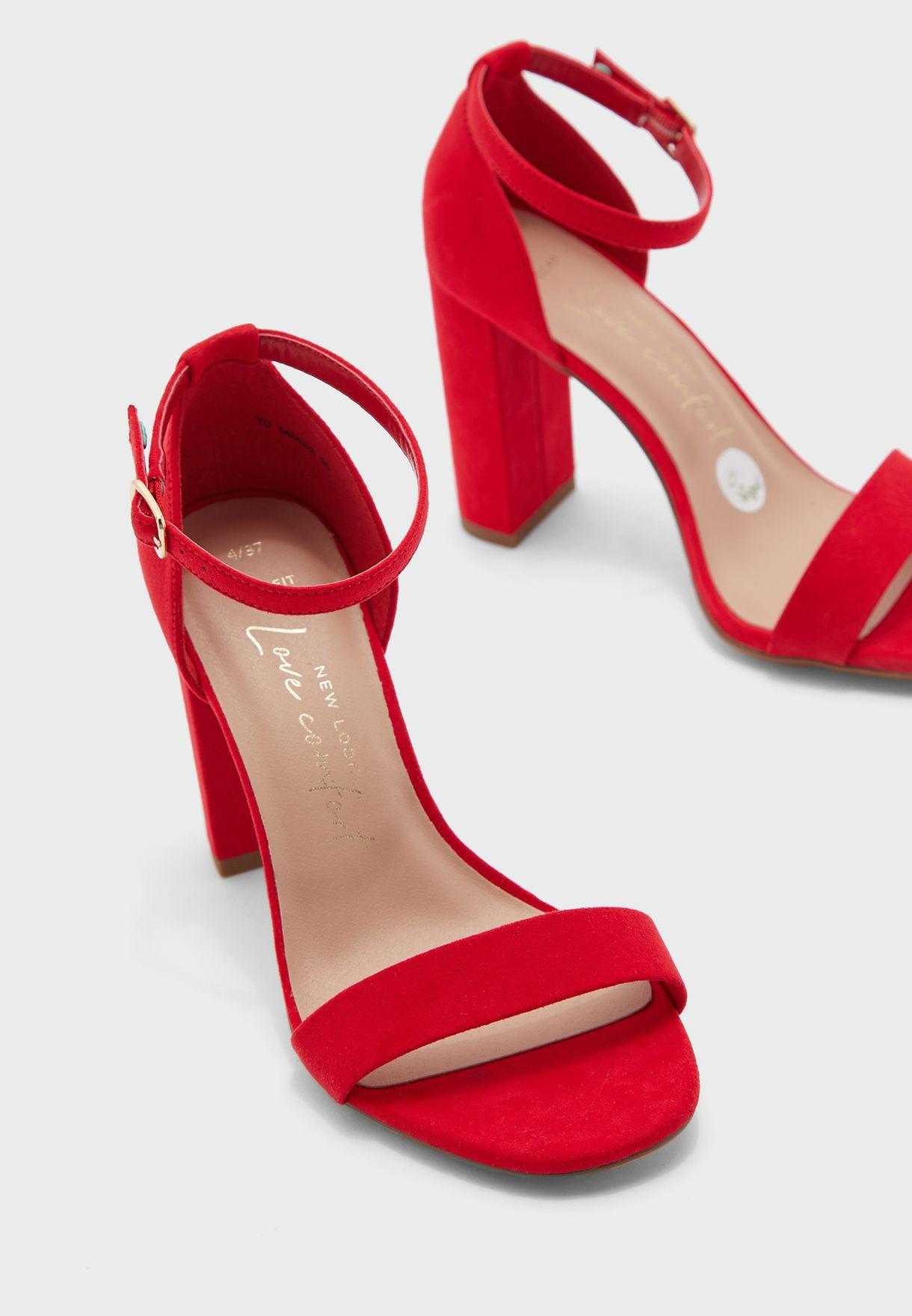 red block heel sandals wide fit