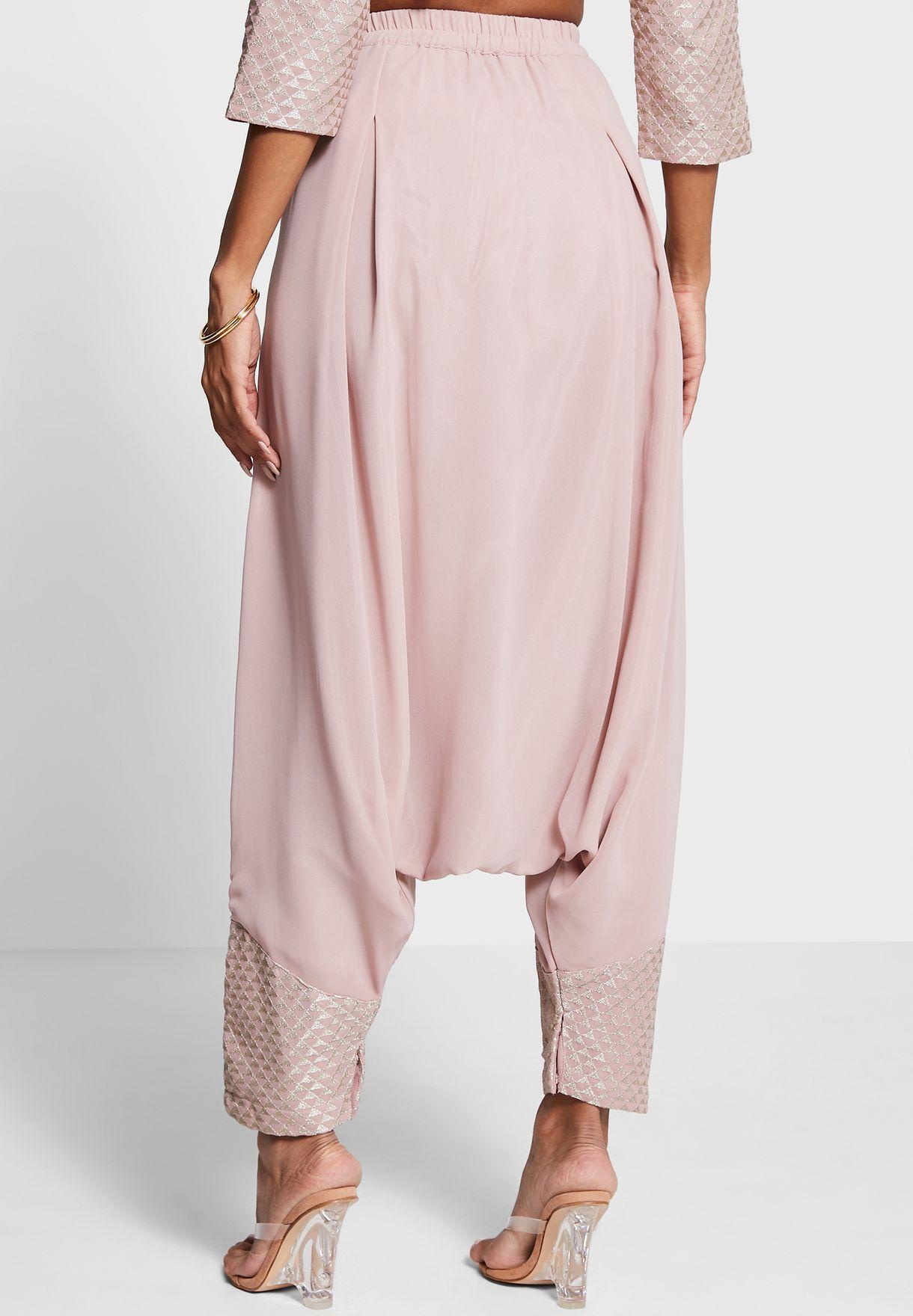 Indya X Payal Singhal Blush Embroidered Cuff Dhoti Pants